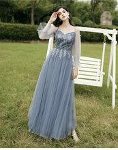 Женское вечернее платье подружки невесты, Длинное Элегантное платье подружки невесты, вечерние платья(Китай)
