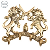 Solid Vintage British Lions Antique Engraved Brass Clothes Bathroom Hanger Coat Door Home Decorative Animal Wall Hook