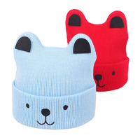 Cheap Wholesale New 2019 Winter Funny Children Baby Hats Embroidery Cat Ears Beanie Knitted Kids Hat
