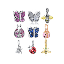 Authentic Cubic Zircon Butterfly Charms 925 Sterling Silver Bee Charms Beads Fit Original Bracelet DIY Jewelry Making