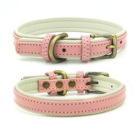 New soft comfortable dog training collar Top layer leather pet collar brass collar dog