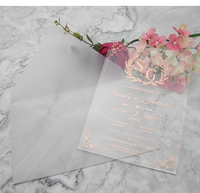 2020 Custom color acrylic wedding invitation card for wedding