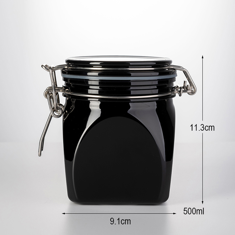 500ml H113mm black wide mouth fan shape PET plastic can  air tight candy storage jar with lids