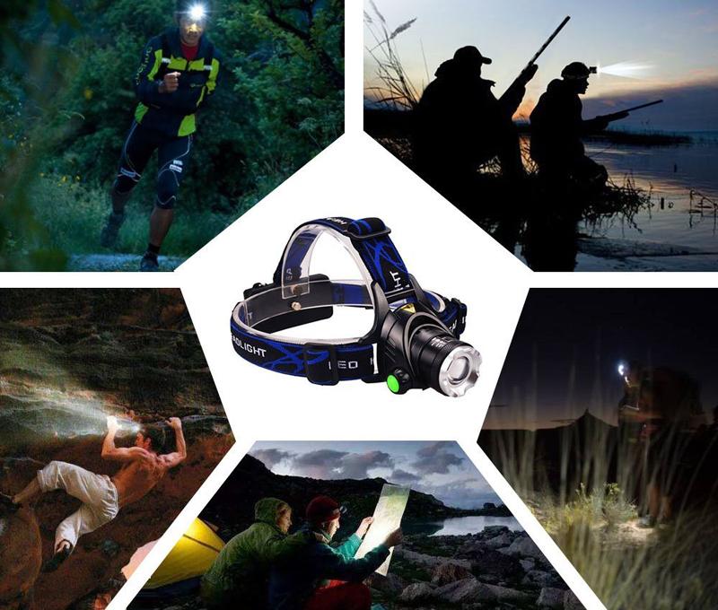 LED headlamp fishing headlight T6 3 modes Zoom able lamp Waterproof Head Torch flashlight Head lamp camping