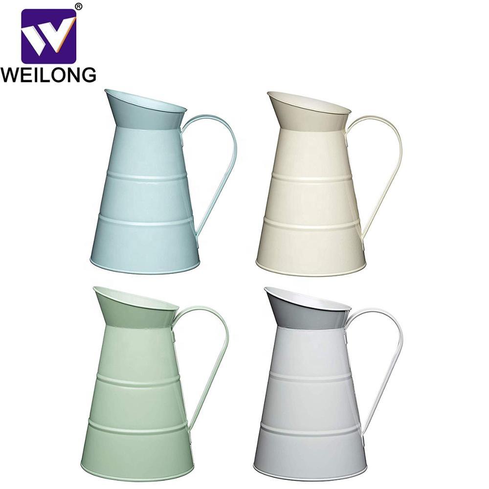 Esmalte jarro jarro início jardim galvanizado vasos de flores de metal