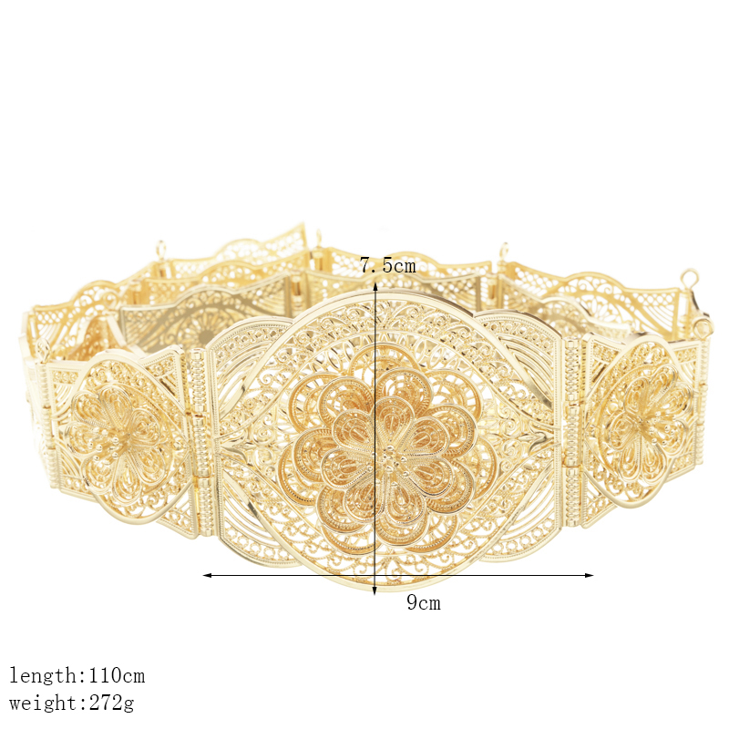 Perfect flower shape design belt chic female waist chain gold color abaya belly chain gold jewelry belt