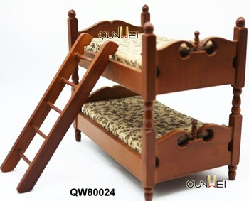 Dolls House Miniatures 1:12 Kid Bedroom Furniture Giraffe Wooden Bunk Bed