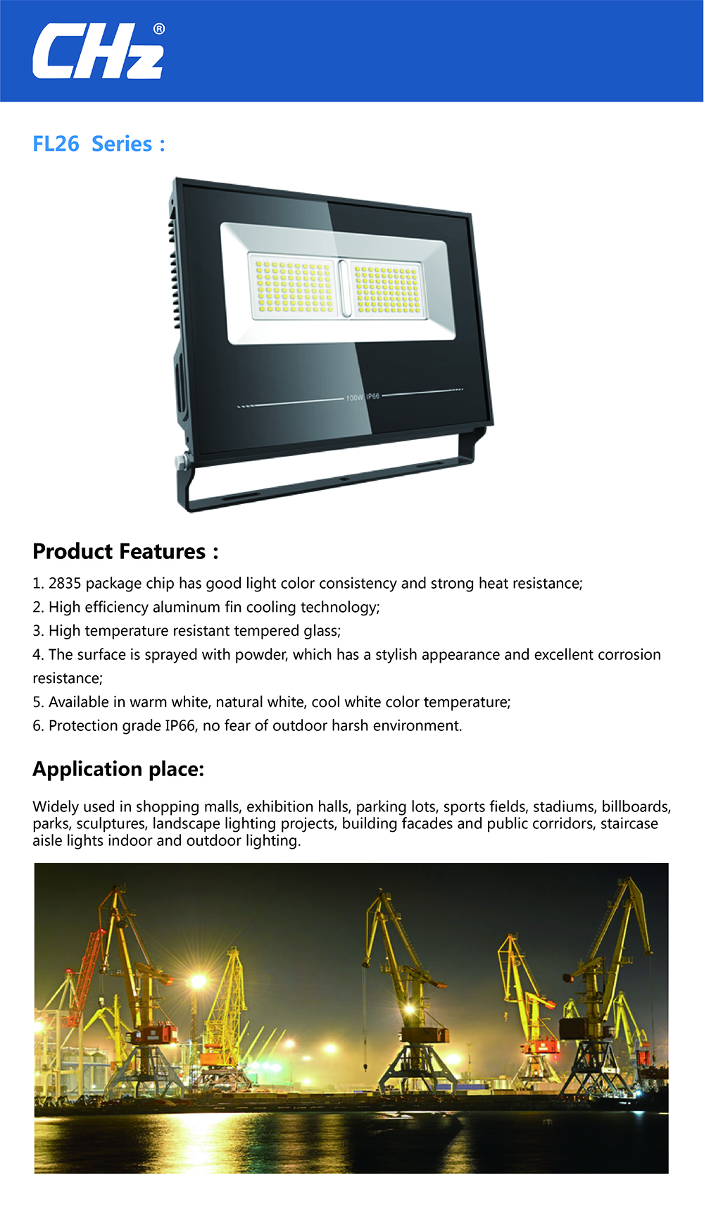 2019 best seller AL body 100W LED flood light lumen efficiency 130lu/w waterproof IP66 with CE and ROHS