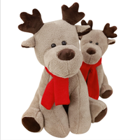 High Quality OEM Service santa elk plush toys 30cm gray animal moose with red scarf for Christmas