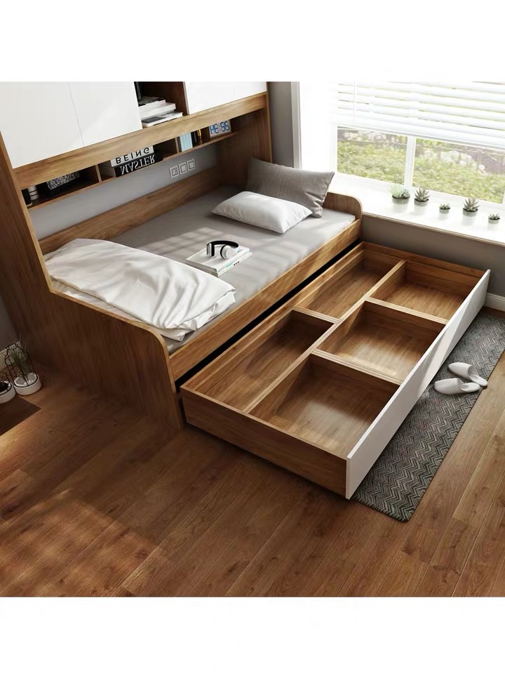 multifunctional tatami bed with storage wardrobe