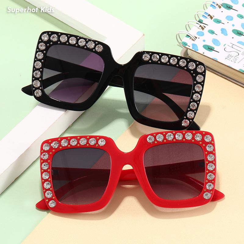 Superhot Kids Eyewear 10667 Girls Bling Bling Sun Shades Glasses Cool Square Sunglasses for Children