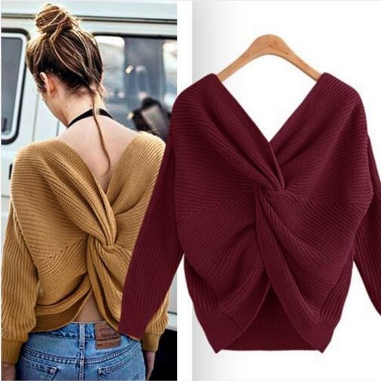 open-back irregular criss-cross knit back v neck sweater for women