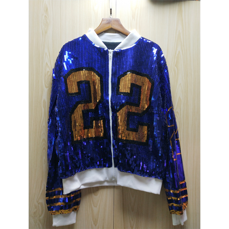 13 style customize sequin bomber jackets Long Sleeve Woman Jacket