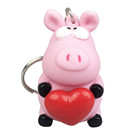 Promotional 3d sheep heartbeat keychains, heart popper cow soft pvc keyrings