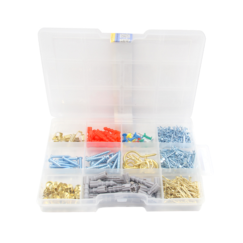 2019 new design 662pcs DIY hardware assortment includes Plastic Anchor, nails,<strong>screws</strong>,<strong>screw</strong> hook packed in 11 compartment pp box