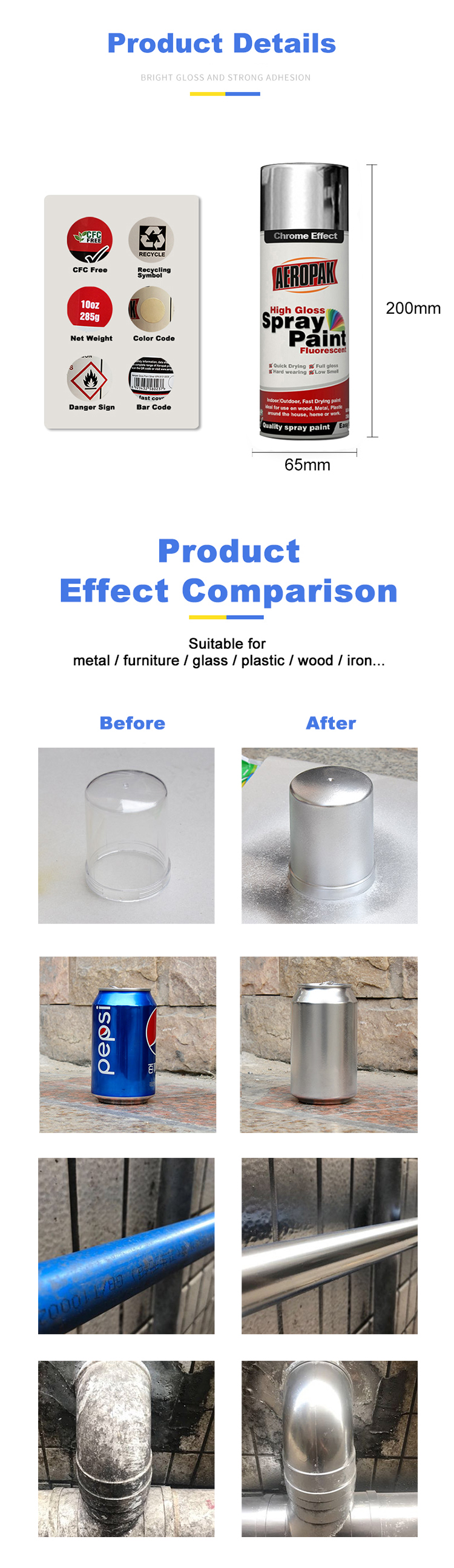 Wholesale Acrylic Aerosal Chrome Spray Paint