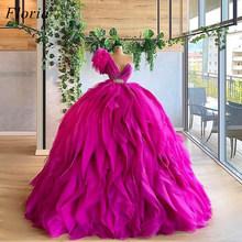 Платье принцессы фуксии, платья знаменитостей 2020, Сексуальные вечерние платья с одним плечом, красные платья с ковровым покрытием, пышные п...(Китай)