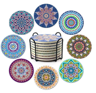 Multi Colors Absorbent Drink Coaster Sets Mandala Style Ceramic Stone Coasters with Holder