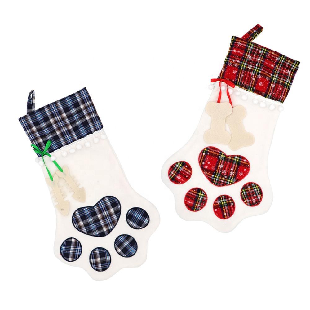 도매 맞춤형 고급 빈티지 일반 승화 애완 동물 고양이 발 선물 장식 양말 크리스마스 스타킹