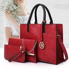 Casual European Elegant Women 3 Pcs Tote Bag PU Leather Shoulder bag Handbag Purse Bags Set