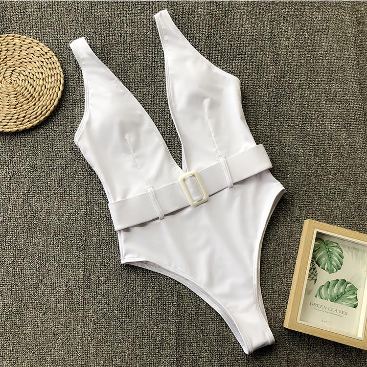 Schnalle Ein Stück Push-Up Sexy bikini 2020 Hohe Taille Tiefem V-ausschnitt Badeanzug Keine Padded Badeanzug Bademode