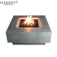 Elementi electric backyard square concrete natural gas fire pit table