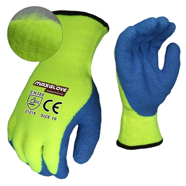 Double dipped sandy blue nitrile coated gloves for water proof