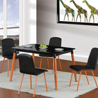 Fashion design dinning room square black tempered glass top metal legs 4 seater dining table set for home restaurant