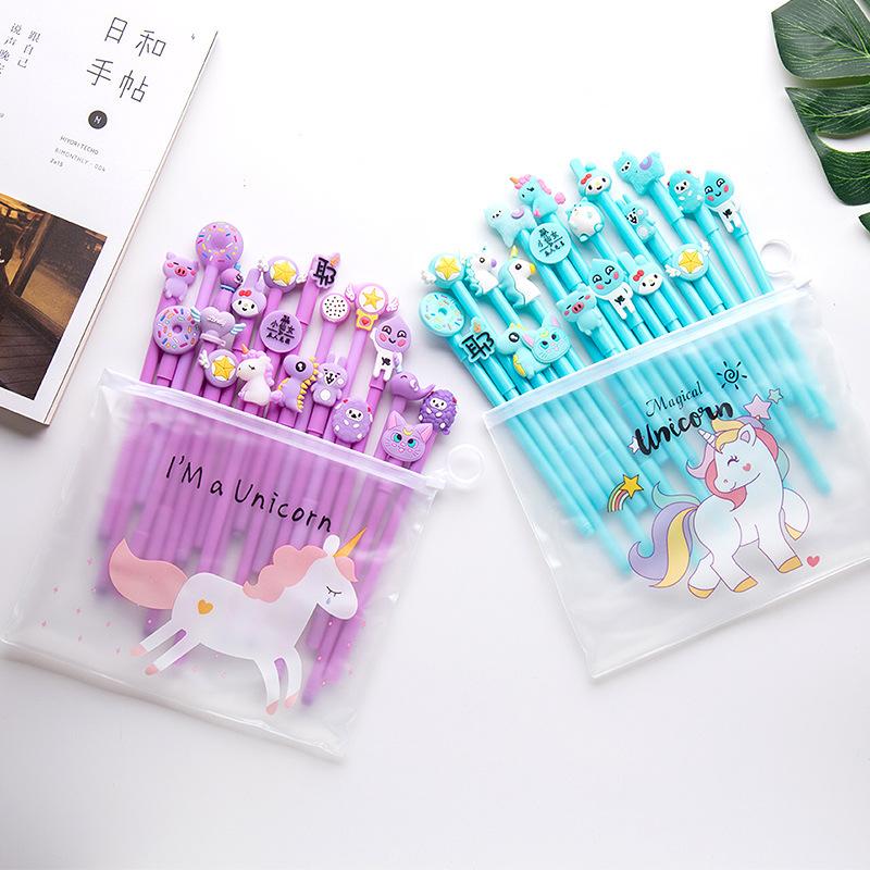 Cute Cartoon student gel pen stationery gift supplies 0.5mm black ink 20pcs/pack