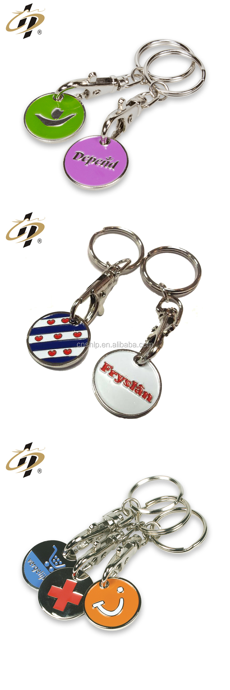 Wholesale cheap metal enamel custom logo beautiful trolley tokens