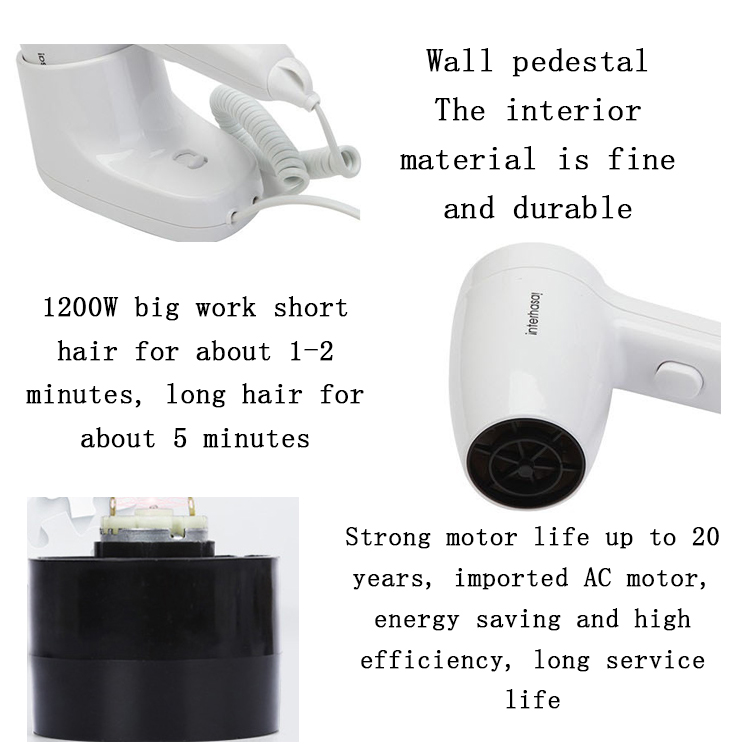 Mini electric ABS plastic professional hotel and public wireless oem hand hair dryer