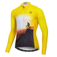 Custom Long Sleeve Men Cycling Jersey Yellow Bike Wear Cycling Clothing Mtb Jersey Maillot Ciclismo Cycling Apparel