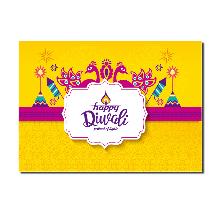 Custom Different Shapes Handmade Decoration India Diwali Greeting Card