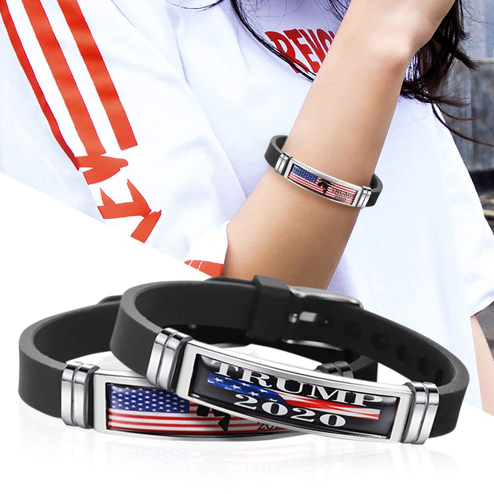 4 Styles USA President Keep America Great Bracelet 2020 Election Donald Trump Bangles Stainless Steel Silicone Wristbands Gift