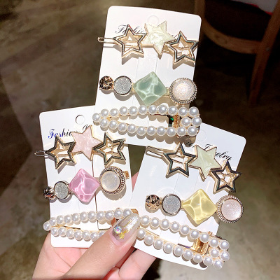Sweet Different Shapes New colorful geometric button acrylic pearl korean hair clip Bobby Pin grips Accessories set for women