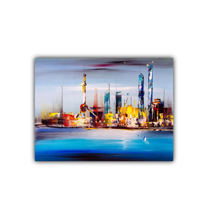Print oil painting night in Shanghai Canvas wall art