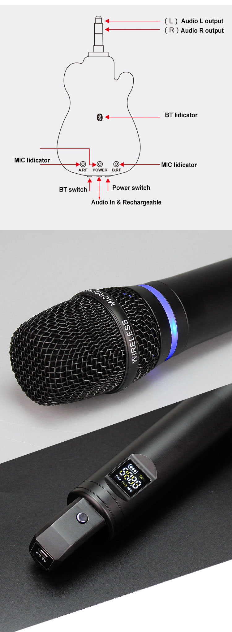 new bluetooth KTV handheld wireless microphone rechargeable GT200