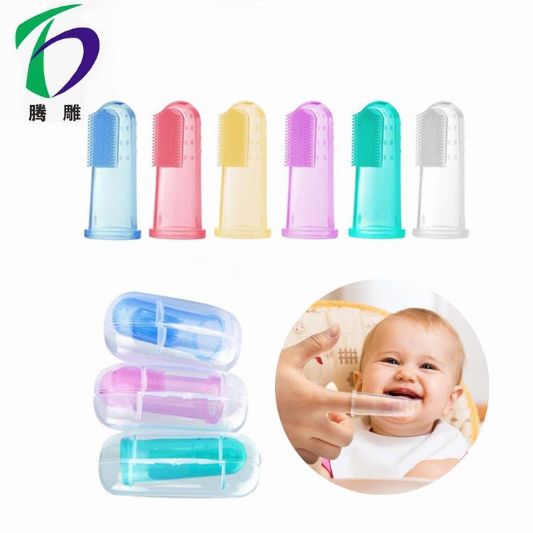 高品質ソフトトレーニング赤ちゃんの指歯ブラシシリコーンカラフルな指歯ブラシのため