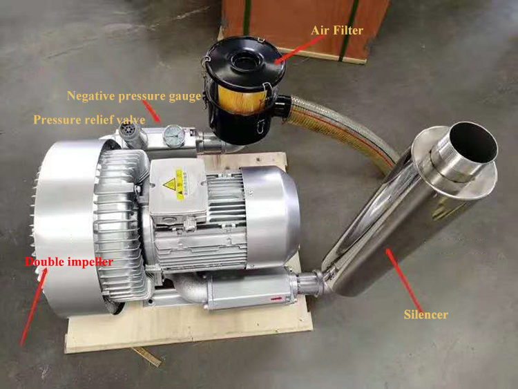 550W 0.55Kw Small Blower Side Channel Ring Blower 2HP Vacuum Pump