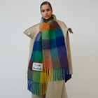 Fringed Scarf Casual Thick Scarf Luxury Fringed Plaid Customized Label Scarf Big Thick Rainbow Vintage Cashmere Scarf