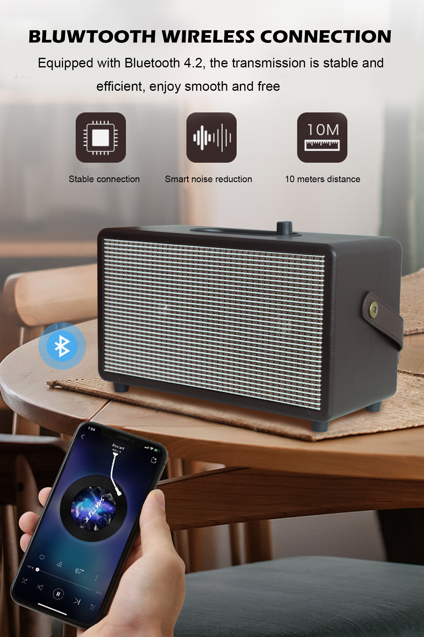 15 Watt Big Size Strong Bass BT Portable Wooden Bluetooth subwoofers speakers with fm radio