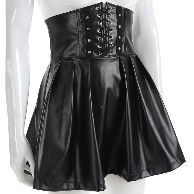 2019 New Short skirt Women sexy strap waistband girdle skirts High Waist Party PU leather saia black Pleated Skirt