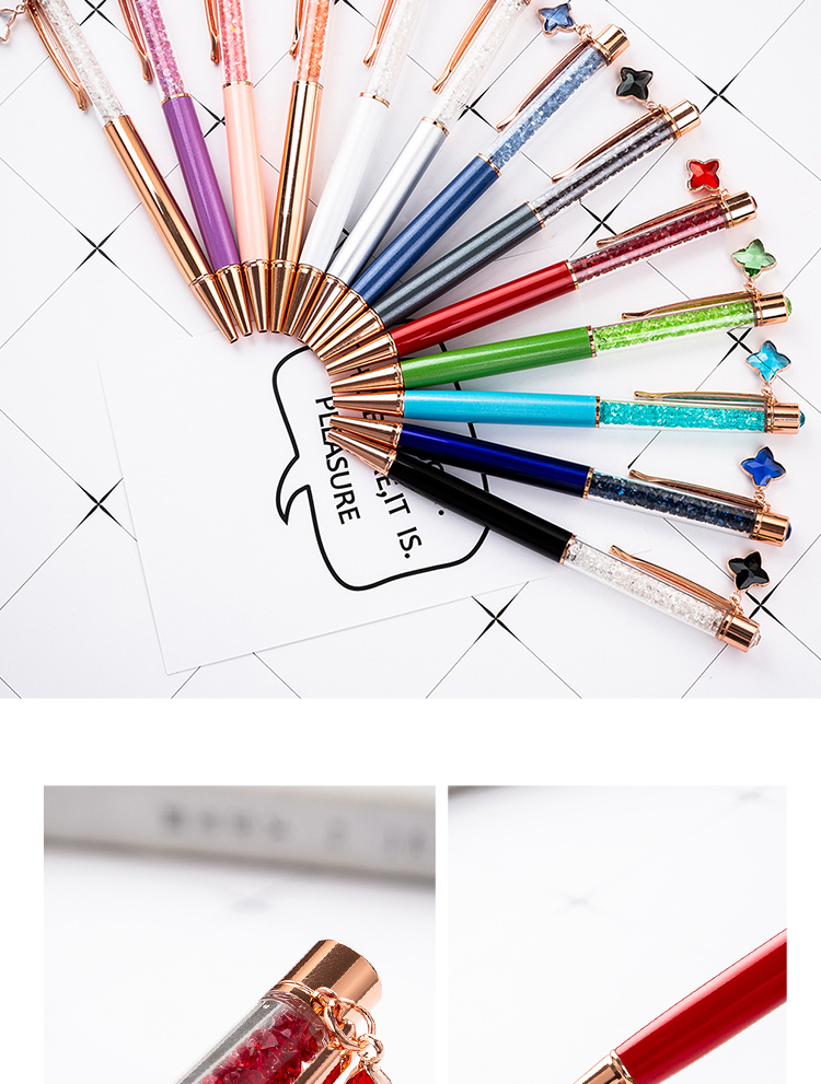 Stationery Office School Gift Crystal Ball Pen With Custom Logo Metal Twist Ballpoint Pen