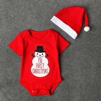 Christmas baby romper clothes set baby boy and girls bodysuit and hat snowman my first christmas outfit