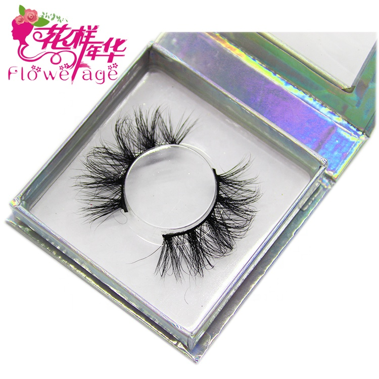 Luxury CUSTOM holographic Square สร้างของตัวเอง Lash ยี่ห้อ Mink Lashes 5D 25mm Mink Eyelashes