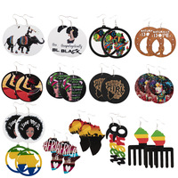 2020 Hot Selling African Style Natural Wooden Hoop Earrings Personalized Colorful Painting Imprinting Earrings for Women