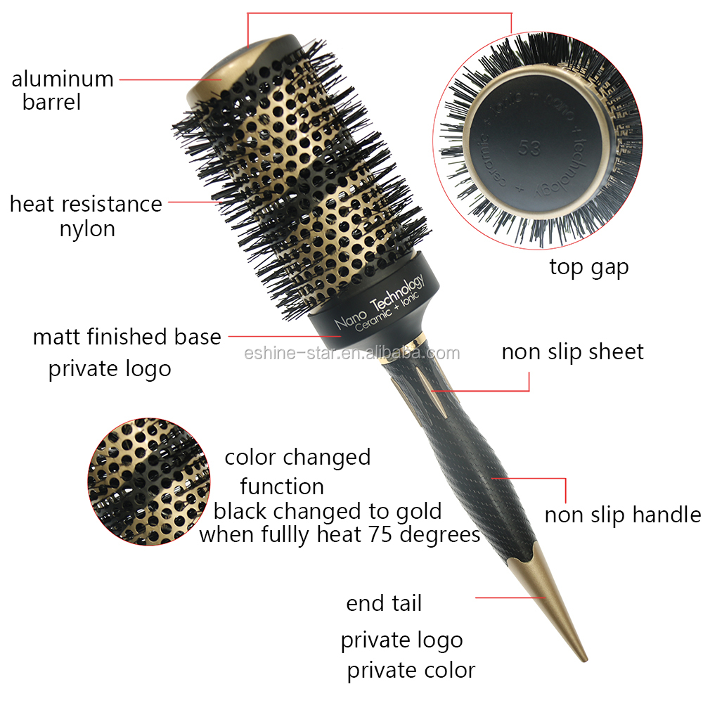 Private label plastic long handle nylon pins color change aluminum barrel ceramic ionic hair brushes