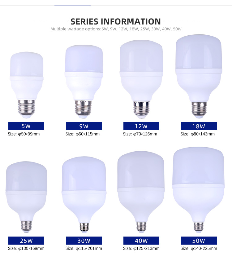 Hot Selling Product T Shape SMD 5W 9W 12W 18W 25W 30W 40W 50W E27 LED Bulb Light With Aluminum Material