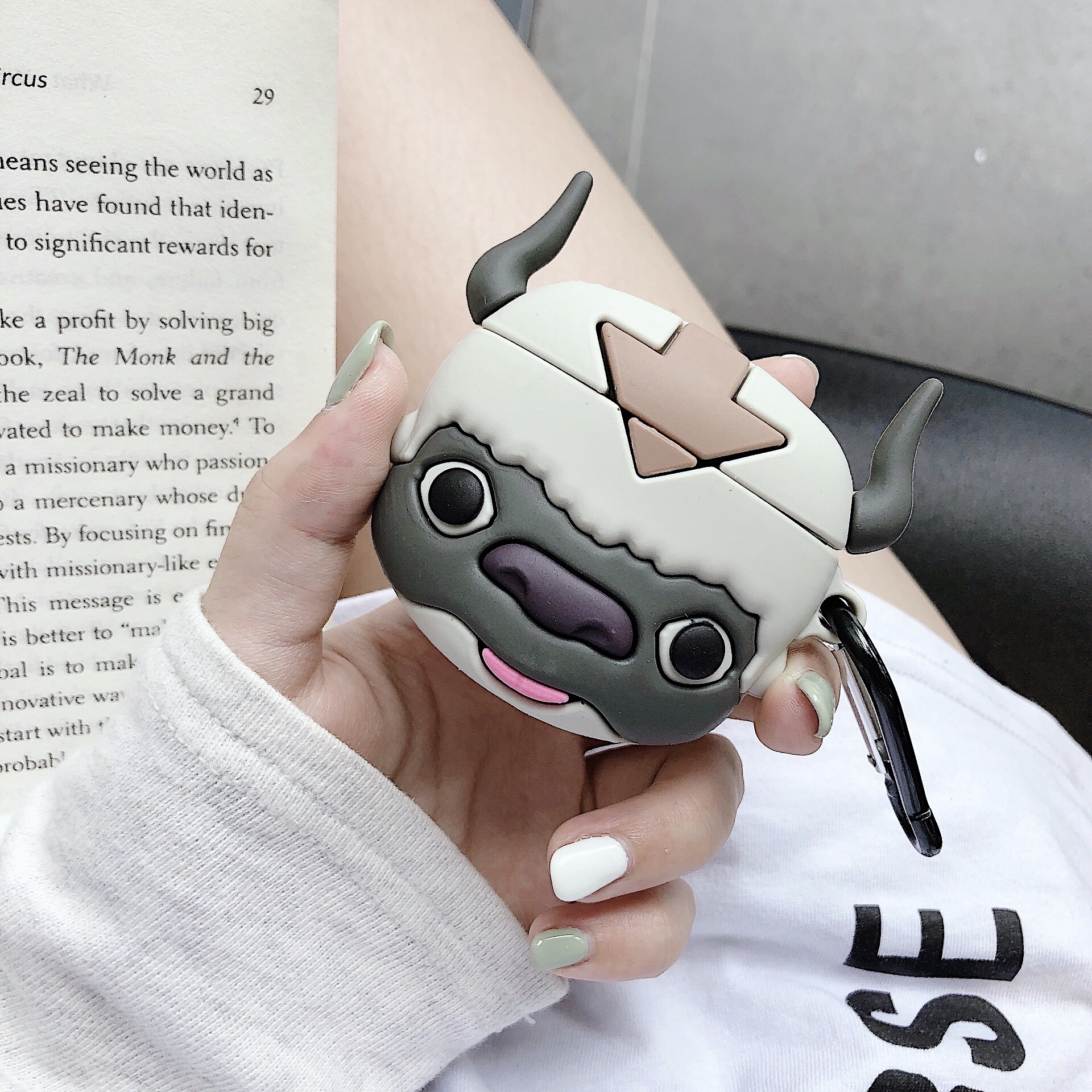 Cartoon Cute cow appa Air Pods 1 2 3 Protective Covers Skin for AirPods 1/2 Pro Soft Silicone Case Cover cases with keychain