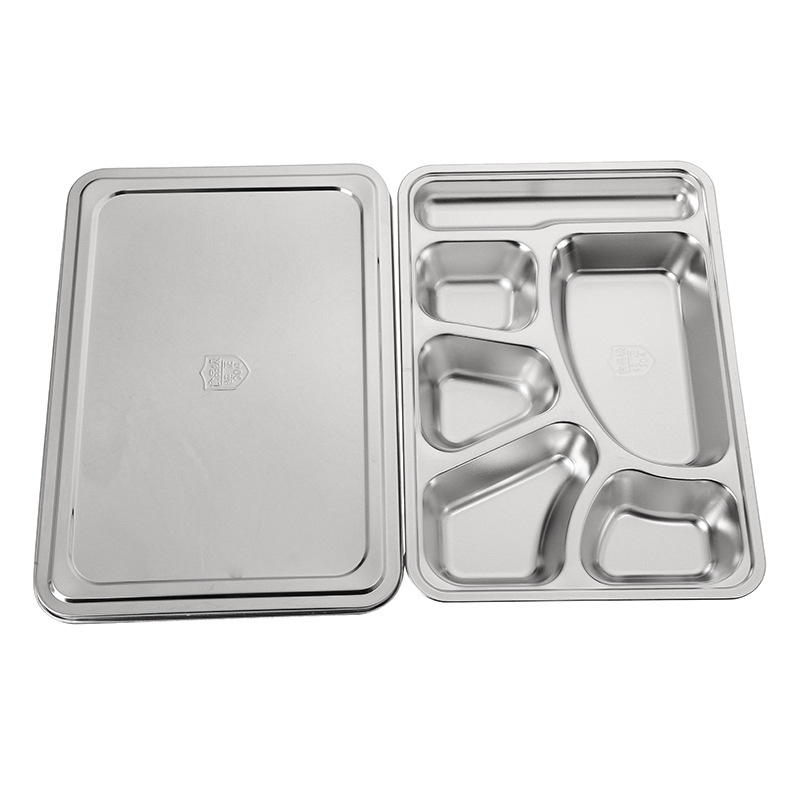 FREE SAMPLE High Quality 5 compartments Fast Food Stainless Steel Lunch Box Rectangular Dinner Plate or Snack Serving Tray